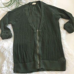 Silence + Noise zipper cardigan size medium green